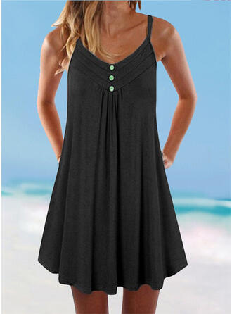 Solid Color Strap V-Neck Plus Size Boho Cover-ups Swimsuits