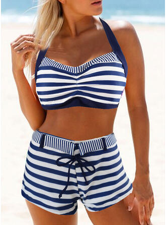 Stripe Hollow Out Lace Up Halter Strapless Sexy Fashionable Attractive Eye-catching Bikinis Swimsuits