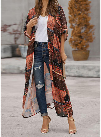 Floral Splice color Quick Dry V-Neck Bohemian Vintage Casual Cover-ups Swimsuits