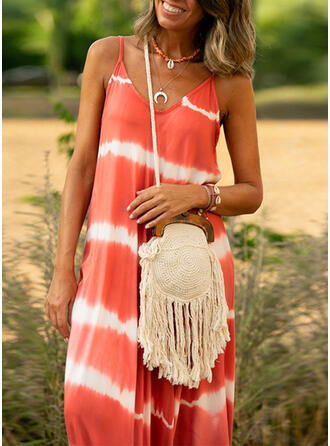 Splice color Strap V-Neck Vintage Boho Cover-ups Swimsuits