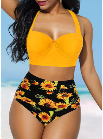Floral High Waist Halter Sexy Fashionable Bikinis Swimsuits