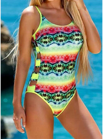 Floral Stripe Hollow Out Strap U-Neck Fresh Casual One-piece Swimsuits