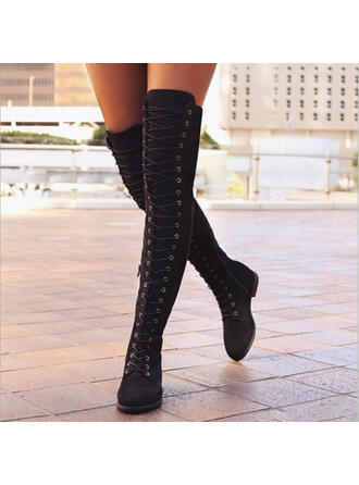 Women's PU Chunky Heel Boots Over The Knee Boots With Lace-up Solid Color shoes