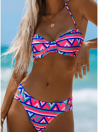 Floral Halter V-Neck Sexy Bohemian Casual Bikinis Swimsuits
