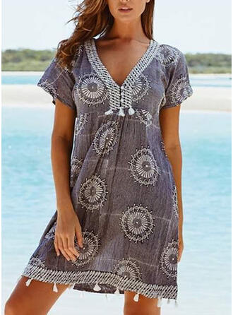 Floral Ruffles Tassels V-Neck Bohemian Vintage Plus Size Cover-ups Swimsuits