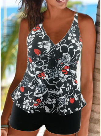 Floral Print Strap V-Neck Sexy Vintage Tankinis Swimsuits