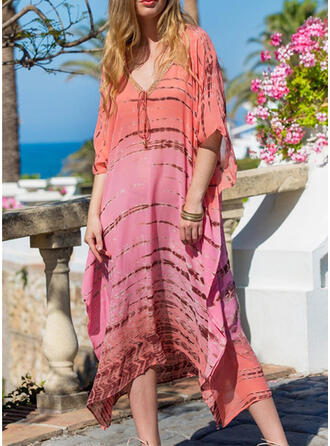 Solid Color Gradient V-Neck Fashionable Fresh Colorful Cover-ups Swimsuits