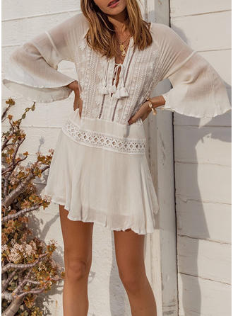 Solid Color V-Neck Sexy Fashionable Beautiful Attractive Cover-ups Swimsuits