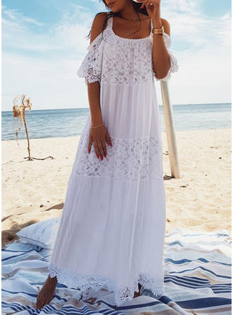 Solid Color U-Neck Sexy Bohemian Cover-ups Swimsuits