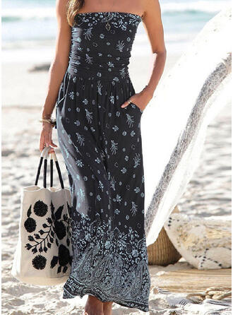 Floral Print Strapless Sexy Boho Cover-ups Swimsuits