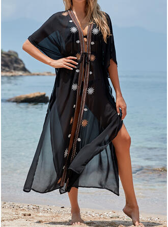 Print V-Neck Sexy Elegant Fashionable Cover-ups Swimsuits