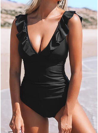 Solid Color Ruffles Strap V-Neck Sexy Bikinis Swimsuits