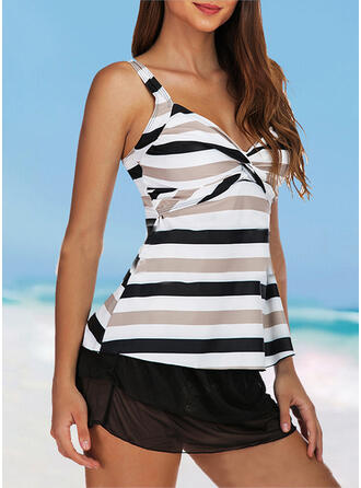 Stripe Splice color Cross Strap V-Neck Cute Plus Size Casual Tankinis Swimsuits