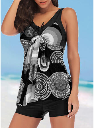 Print Knotted Strap V-Neck Plus Size Casual Tankinis Swimsuits