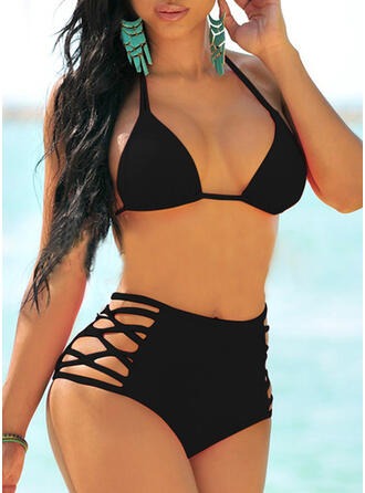 Solid Color High Waist Halter Sexy Fresh Bikinis Swimsuits