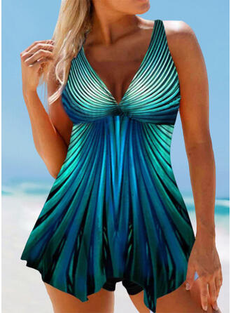 Print Strap V-Neck Vintage Fresh Swimdresses Swimsuits
