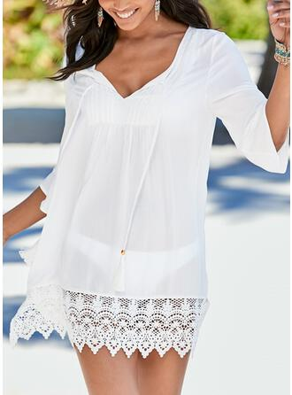 Solid Color Mesh V-Neck Elegant Casual Cover-ups Swimsuits