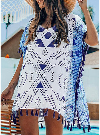 Geometric Print Round Neck Cover-ups Swimsuits
