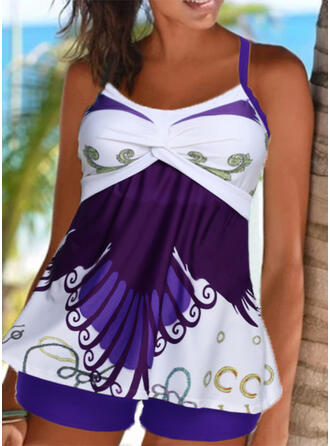 Floral Ruffles Strap Round Neck Sports Plus Size Retro Casual Tankinis Swimsuits
